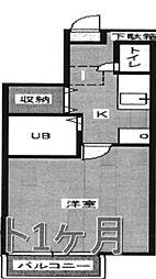 東京都中野区若宮2の賃貸アパートの間取り