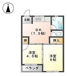 丸一荘A・B棟[2階]の間取り