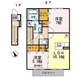 愛知県名古屋市緑区鶴が沢3丁目の賃貸アパートの間取り
