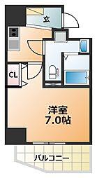 エグゼ阿倍野 4階1Kの間取り