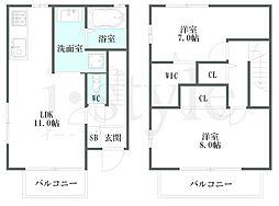 エスタシオン東名 B棟[2階]の間取り