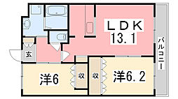 サンハイツIII[202号室]の間取り