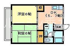 ハイツ中島[2階]の間取り