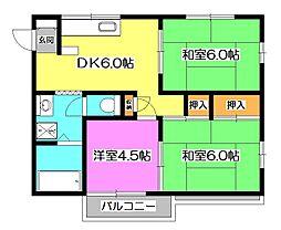 ドミール内野 E棟[1階]の間取り