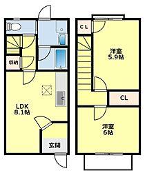 愛知県みよし市三好丘緑3丁目の賃貸アパートの間取り