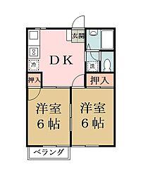 埼玉県草加市中根2の賃貸マンションの間取り