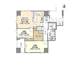 JR山手線 原宿駅 徒歩9分の賃貸マンション 11階2LDKの間取り