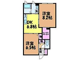 愛媛県松山市東野4丁目の賃貸アパートの間取り