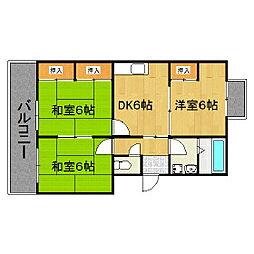 福岡県久留米市朝妻町の賃貸マンションの間取り