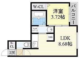 札幌市電2系統 西線6条駅 徒歩6分の賃貸マンション 4階1LDKの間取り