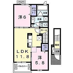 静岡県浜松市東区天王町の賃貸アパートの間取り