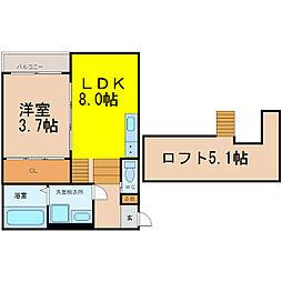 名古屋市営桜通線 吹上駅 徒歩9分の賃貸アパート 2階1SLDKの間取り