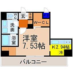 K Smart Kanayama(ケイスマートカナヤマ) 9階1Kの間取り