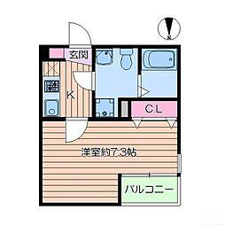 東京メトロ千代田線 綾瀬駅 徒歩8分の賃貸アパート 3階1Kの間取り
