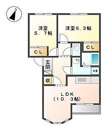 オアシスITOH[2階]の間取り