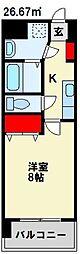 MDIアクトスぺリタ折尾駅前 6階1Kの間取り