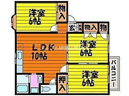 岡山県岡山市中区中井2丁目の賃貸アパートの間取り