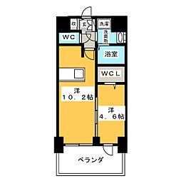 プレサンス錦通 THE 葵 13階1LDKの間取り