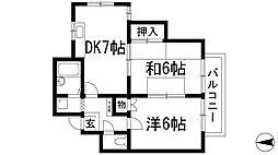 グランシャルムHATA[2階]の間取り