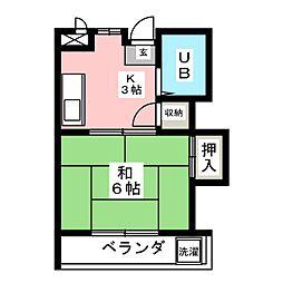 タケセイハイツ内田橋[2階]の間取り