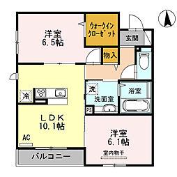 大阪府八尾市中田1丁目の賃貸アパートの間取り