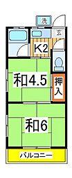 コーポ東台[203号室]の間取り