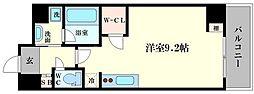 エスパシオ・コモド大阪新町 4階ワンルームの間取り