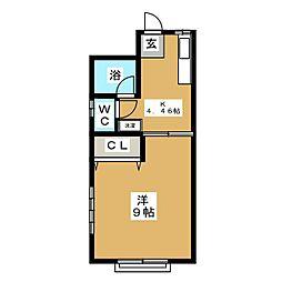 ワタトモアパート[2階]の間取り