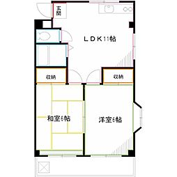 JR中央本線 武蔵境駅 徒歩23分の賃貸マンション 3階2LDKの間取り