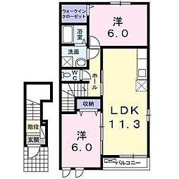西鉄天神大牟田線 西鉄柳川駅 徒歩28分の賃貸アパート 2階2LDKの間取り