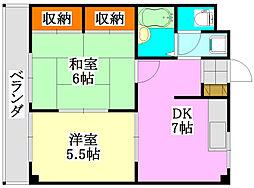 コスモス津田沼[3階]の間取り