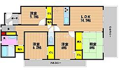 岡山県岡山市北区西古松西町の賃貸マンションの間取り