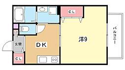 大阪府豊中市服部西町1丁目の賃貸アパートの間取り