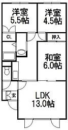 北海道札幌市手稲区前田八条14丁目の賃貸アパートの間取り