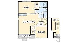 南海線 箱作駅 徒歩6分の賃貸アパート 2階2LDKの間取り