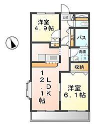 愛知県清須市西枇杷島町小田井3丁目の賃貸アパートの間取り