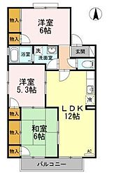 エスポワール34 A〜G棟[B-202 号室号室]の間取り