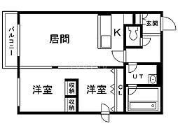 ピュアステージマルヤマ 3階1LDKの間取り