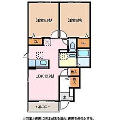 長野県松本市大字神林の賃貸アパートの間取り
