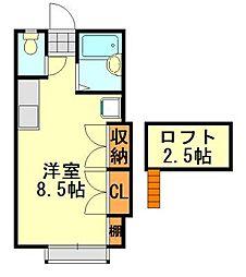 ラインヴィラ大巌寺B[105号室]の間取り