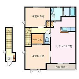 コスモパーク A棟[2階]の間取り