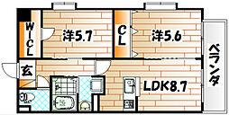 福岡県北九州市小倉北区砂津1丁目の賃貸マンションの間取り