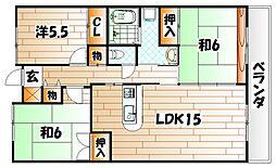 福岡県北九州市小倉北区中井4丁目の賃貸マンションの間取り