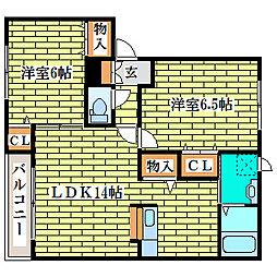 セジュール喜寿B[1階]の間取り