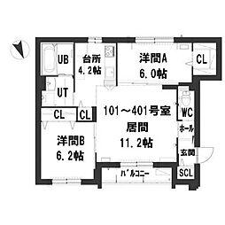 仮)グランメール本町1−9[4階]の間取り