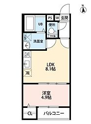 T.A上飯田東町5丁目 3階1LDKの間取り