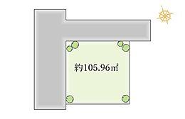 接道幅員(西側約7.7m、北側3.2m)も広く開放的な土地