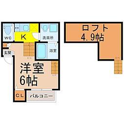 愛知県名古屋市北区城東町5丁目の賃貸アパートの間取り