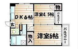 福岡県北九州市八幡西区大浦1丁目の賃貸マンションの間取り