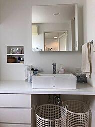 洗面台には収納がたくさんあり、化粧品や衛生用品などを収納可能。洗面台をすっきりと保ちます